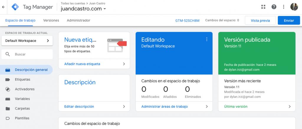 Interfaz de Google Tag Manager