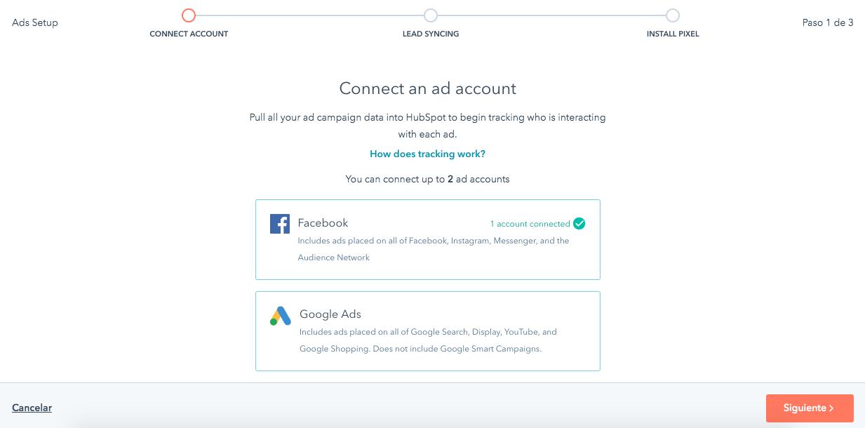 Conectar Hubspot CRM con Facebook Ads